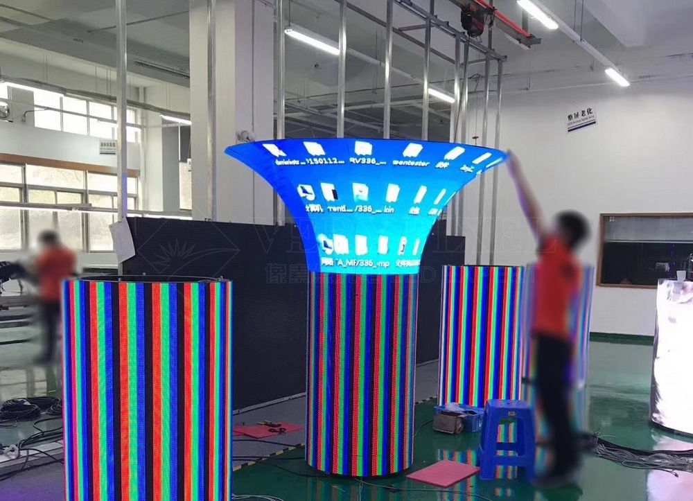 mushroom shaped column LED display